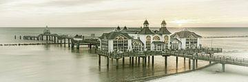 RÜGEN pier in Sellin bij zonsopgang | Vintage Panorama van Melanie Viola