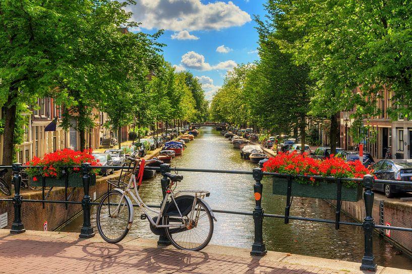 Fiets op de brug in zomers Amsterdam van Dennis van de Water
