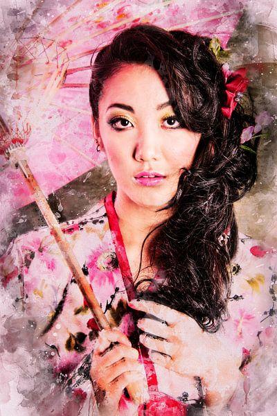 Aziatisch model met roze paraplu (mixed media) van Art by Jeronimo