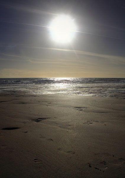 Zon staat hoog bij strand van Zoutelande van MSP Canvas