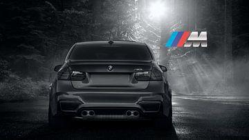 BMW M3 sportscar in grijs met M logo van Atelier Liesjes