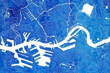 Rotterdam Stadskaart | Blauwe Aquarel