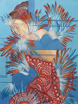 Rotes Kleid und Chickadees von Irina Corduban