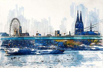 Köln Panorama mit Schiff Artdesign von Michael Bartsch