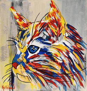 Zilveren kat van Kathleen Artist van Kathleen Artist Fine Art