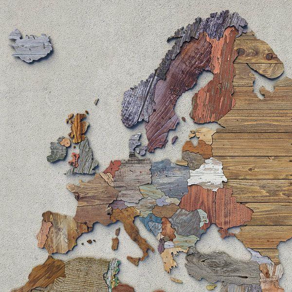 Holzkarte Europa von Frans Blok