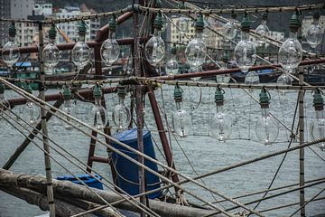 Traditionele vissersboot in Vietnam van