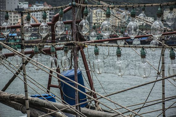 Traditionele vissersboot in Vietnam