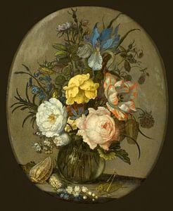 Bloemen in een glazen vaasje, Balthasar van der Ast