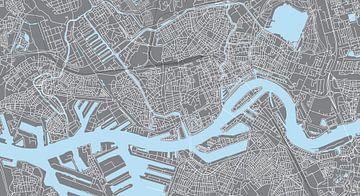 Carte du Rotterdam | Panorama Grey sur
