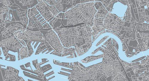 Rotterdam | Stadskaart | Panorama Grijs van - Wereldkaarten.Shop -