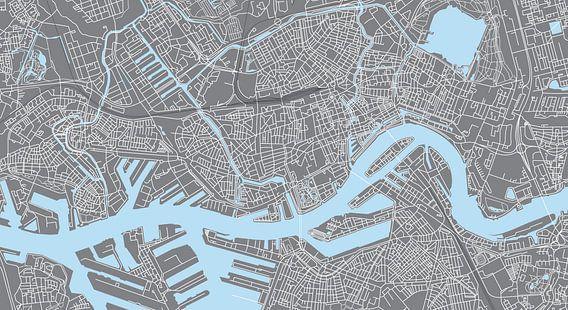 Rotterdam | Stadskaart | Panorama Grijs