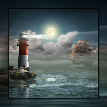 Leuchtturm und Segelschiff unter Beleuchtung von Monika Jüngling