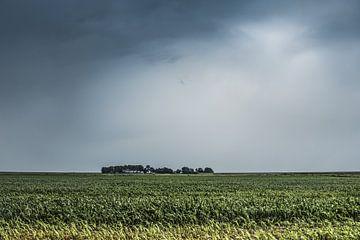 Zicht op het Zuidwest puntje van de provincie Friesland Laaxum van Harrie Muis