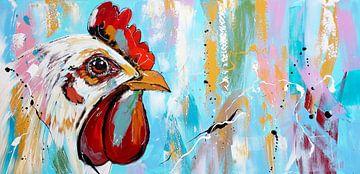Kip in pastel van Vrolijk Schilderij