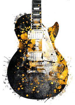 Gitaar 33 muziekkunst zwart en goud #gitaar #muziek van JBJart Justyna Jaszke