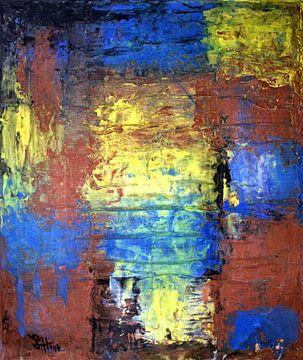 Vierkanten II in rood, blauw en geel van elha-Art