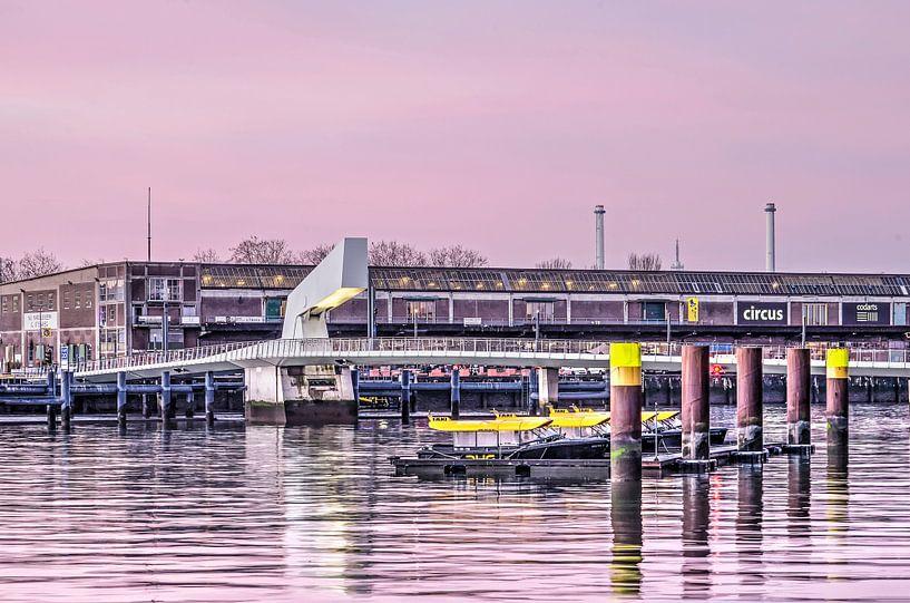Watertaxi's, Rijnhavenbrug en Fenixloods van Frans Blok