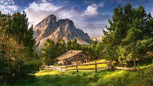 Holzhaus auf einer Alm in den Alpen / Dolomiten in Italien von Voss Fine Art Photography
