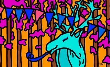Deer mit Partyhupe von ART Eva Maria