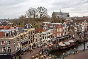 Oude binnenstad Leiden bij Nieuwe Rijn van Carel van der Lippe
