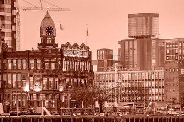 Hotel New York und die Getreidesilo - monochrom von Frans Blok