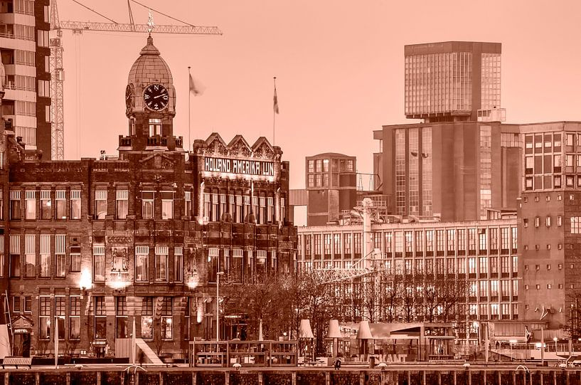 Hotel New York en de graansilo van Katendrecht - monochroom van Frans Blok