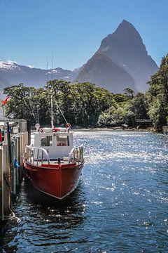Milford Sound steiger met Mitre Peak, Nieuw-Zeeland van Christian Müringer