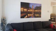 Klantfoto: Zicht op Zandbrug en Oudegracht in Utrecht vanaf de Bemuurde Weerd van Donker Utrecht, op canvas