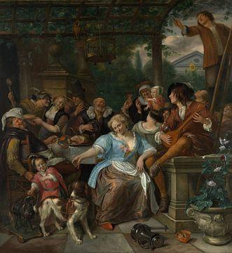 Fröhliche Gesellschaft auf einer Terrasse, Jan Steen von