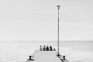 Bijkletsen op de pier van