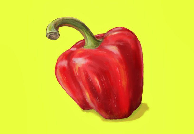 Rode paprika op geel van Jan Brons
