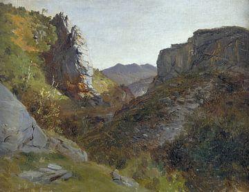 Carlos de Haes-Hügellandschaft, Schlucht, antike Landschaft