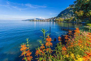 Montreux aan het meer van Genève in Zwitserland van Werner Dieterich