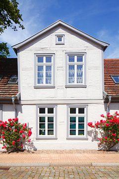 Schelfstadt mit weißen Fachwerkhaus am Schweinemarkt , Mecklenburg-Vorpommern, Deutschland, Europa