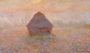Heuhaufen, Sonne im Nebel - Claude Monet