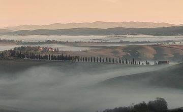 Toskana Landschaft im dichten Morgennebel von Besa Art