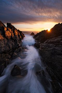Zeelandschap zonsondergang bij Croyde van Rick Kloekke