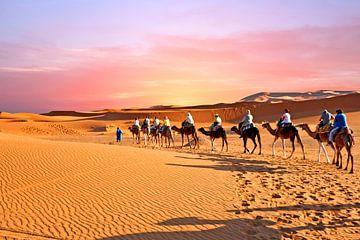 Kameel caravan trekt door de Sahara woestijn in Marokko bij zonsondergang van Nisangha Masselink