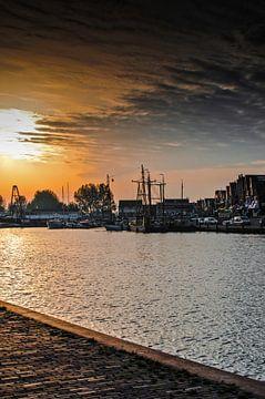 Port de Volendam coucher de soleil sur