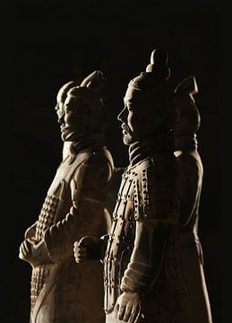 Schöne beleuchtete Krieger von der Terrakotta-Armee in Xi'an von Tony Vingerhoets
