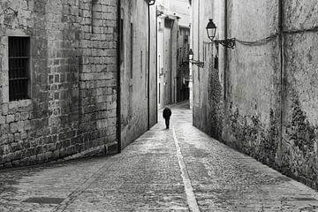verlassene alte Straße schwarz-weiß von gj heinhuis