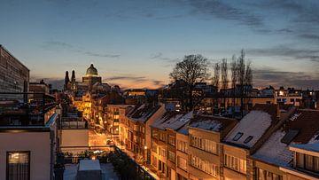 Zonsondergang over West Brussel