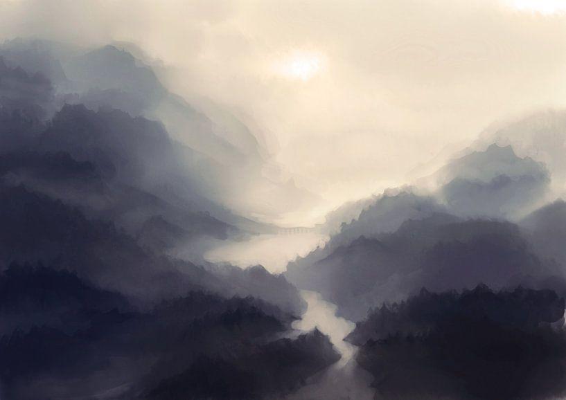 Brug in de mist van Petra van Berkum