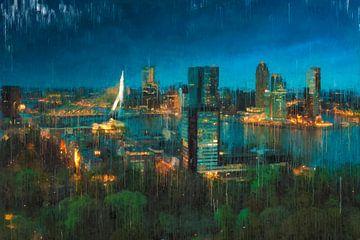 Skyline von Rotterdam bei Nacht gemalt