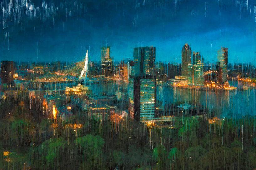 Skyline von Rotterdam bei Nacht gemalt von Arjen Roos