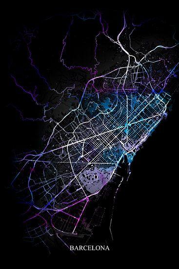 Barcelona - Abstracte Plattegrond  in Zwart Paars Blauw