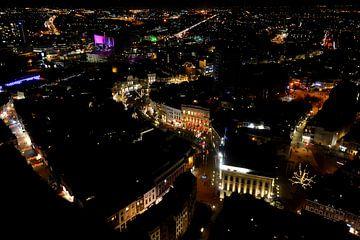 Uitzicht vanaf de Domtoren in Utrecht, richting Stadhuis en Oude Gracht. van Margreet van Beusichem