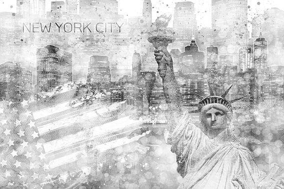 Grafische Kunst MANHATTAN Collage | zilver van Melanie Viola