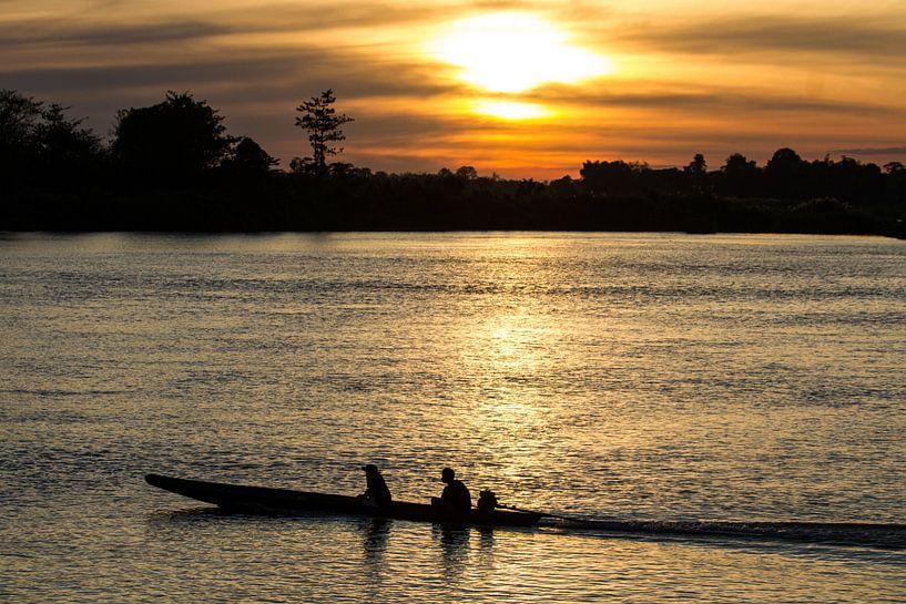 Abendstimmung am Mekong von Levent Weber